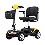 4 Wheel Mobility Scooter - Electric Wheelchairs with 18-inch Wide Adjustable Seat, Lightweight Compact Mobility Scooters for The Elderly to Travel (Yellow)