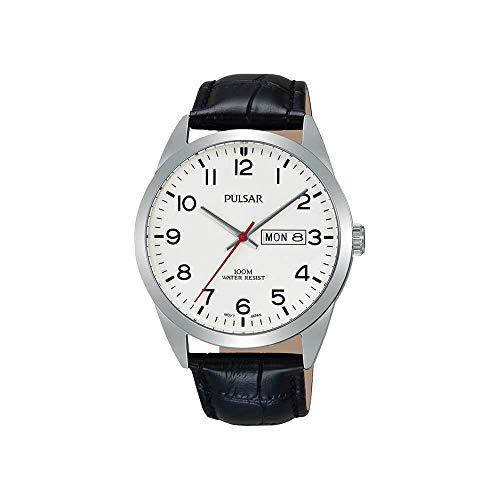 Pulsar Quarz Herren-Uhr Edelstahl mit Lederband PJ6065X1
