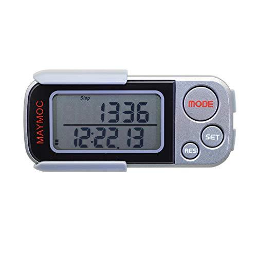 MAYMOC Pedometro 3D e misuratore di Passi per Passi a Piedi Miglia/Km Clip Portatile precisa per Lo Sport Fitness Monitoraggio Obiettivo Giornaliero Distanza Esercizio 30 Giorni Memoria