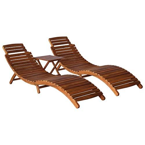 vidaXL Akazienholz Massiv Sonnenliege mit Teetisch Tisch Gartenliege Gartenmöbel Liege Holzliege Relaxliege Liegestuhl Saunaliege 3-TLG.