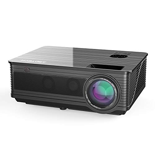 """Abdtech 3600 Lumens Led Movie Projector,Multimedia 200""""LCD Video Projectors with Two Built-in Speaker Optical Keystone,Support 1080P USB AV SD HDMI TF VGA PS4 for Home Theater Movie Night Gaming"""