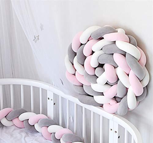 Bettumrandung Babybett 3 Weben Baby Geflochtene Stoßfänger Nestchen Kantenschutz Kopfschutz Kinderbett Dekoration 200cm/300cm