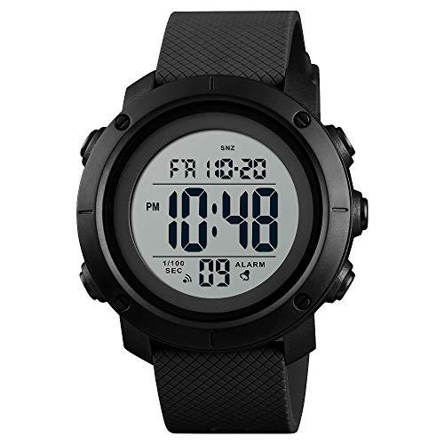A ALPS Uhr Herren, Sport Outdoor Digital Uhren für Männer mit Wecker/Kalender/LED-Licht/Countdown/Stoppuhr 5ATM wasserdichte Silikon Armband Armbanduhr, Multifunktion Herrenuhr