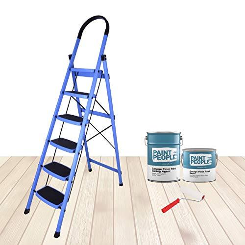 Plantex Premium Steel Folding 6 Step Ladder for Home - 6 Wide Anti Skid Steps - (Blue & Black)