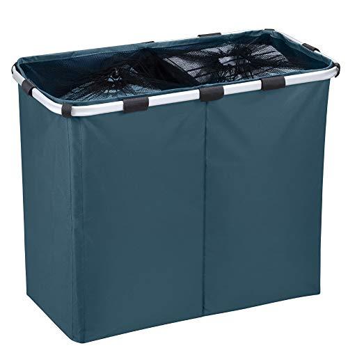 IHOMAGIC Wäschesortierer 2 Fächer Faltbarer Wäschekorb Sortierer Hell Dunkel Wäschesammler Kinder Wäschebox Wäschesack Wäschetasche Wäschebehälter Groß 100L Blau