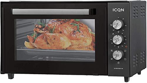 ICQN Minibackofen 50 Liter mit Umluft | 90 Min Timer | Pizza-Ofen | Mini Ofen | Innenbeleuchtung | Doppelverglasung | Turbolüfter | Drehspieß