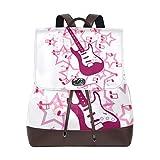 Yuanmeiju Mochila de Cuero Rucksack Art Music Note Guitar Daypack Bags for Girls Boys