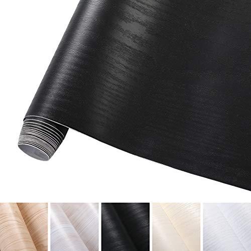 KINLO 0.61M*5M(1 rotolo) Carta da Parati legno grano Nero PVC Impermeabile Antibatterico e...