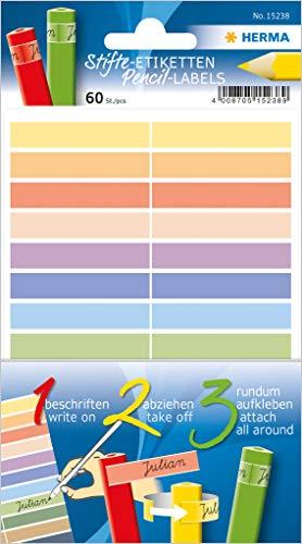 Herma 15238 Stifte-Etiketten für Kinder, mehrere Farben, 60 Namensaufkleber für Stifte aus Papier, 10 x 46 mm, permanent selbstklebend, Buntstifte Etiketten