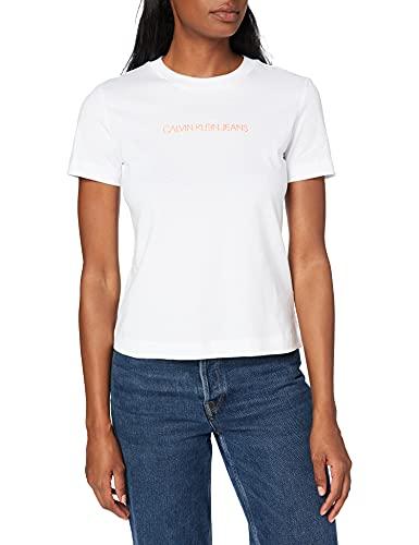 Calvin Klein Jeans Shrunken Institutional Tee Collare spalmato, Bianco Brillante, M Donna