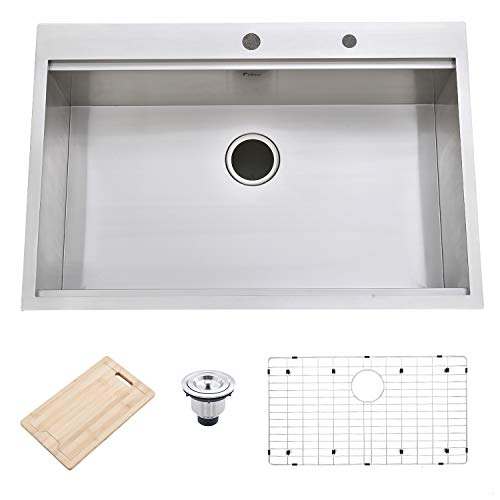 """Friho 33""""x 22"""" Inch 18 Gauge Topmount Drop-in Single Bowl Basin Handmade SUS304 Stainless Steel Kitchen Sink,Brushed Nickel Kitchen Sinks With Dish Grid,Dish Drainer,Cutting Board and Basket Strainer"""