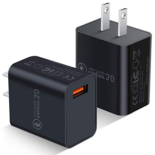 Quick Charge 3.0 Wall Charger, Besgoods 2-Pack 18W QC 3.0 Charger Adapter Phone Charger Block Compatible with Wireless Charger, Samsung Galaxy S9 S8 Note 8 9, iPhone, iPad, LG, HTC and More