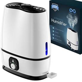 Everlasting Comfort Ultrasonic Cool Mist Humidifier (6L) with Essential Oil Tray (White)