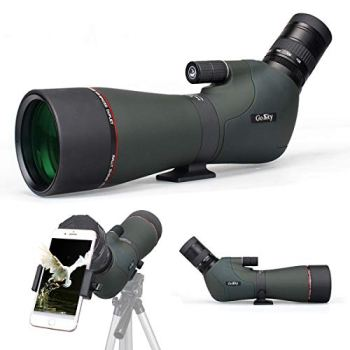 Gosky Newest 20-60x80 Dual Focusing Spotting Scope - Waterproof HD Optics Zoom Scope with with Carrying Case and Smartphone Adapter for Hunting Bird Watching Target Shooting Astronomy Scenery