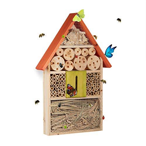 Relaxdays, orange Hôtel à insectes à suspendre maison à papillon bois jardin balcon abeilles coccinelles HxlxP: 48,5 x 31 x 7 cm, 7 x 31 x 48,5 cm