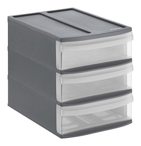 Rotho 1114608853cassetti Box Syste Mix Tower in plastica Scatola Portaoggetti, Taglia S, Plastica, Antracite/Trasparente, 26.5x 19.2x 23.3cm