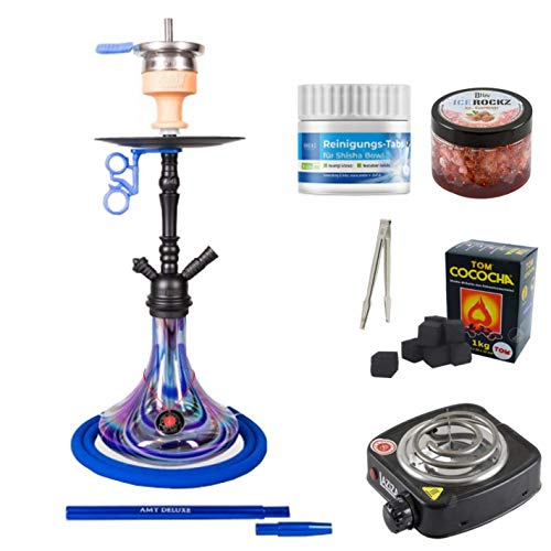 Shisha-Set mit Shisha Amy Deluxe Middle Globe, Middle Zoom, Middle Cloud Rainbow, Middle Tango, Kohleanzünder, Naturkohle, Kaminkopf, Dampfsteine (Globe Rainbow - Blau/Schwarz-Matt)