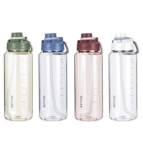 Diller 2L Acqua con Paglia litro 2000ml Piccolo Grande per l'acqua, a Prova di perdite, Senza BPA, Leak Proof BPA Free D42 (2000ml, Rosso)