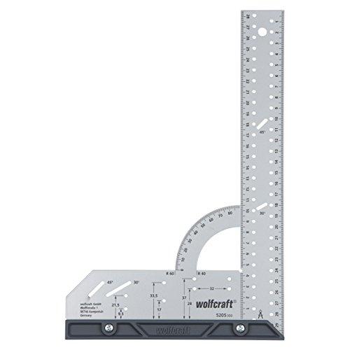 wolfcraft Universalwinkel 5205000 | Winkelmesser mit 300 mm Schenkellänge zum präzisen Anreißen & Zeichnen mit 90° Anschlagwinkel und abnehmbarer Winkelschiene
