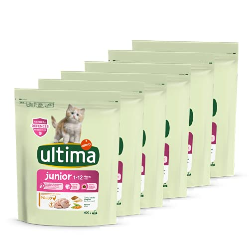 ultima Pienso para Gatos Junior de 1 a 12 Meses con Pollo, Pack de 6 x 400 gr - Total 2.4 kg