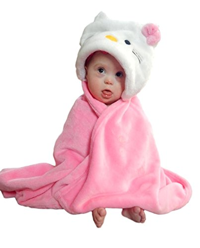 bozemanbabycompany Hooded Animal Blanket Plush Security Comfy Wrap   Boy or Girl Infant or Toddler