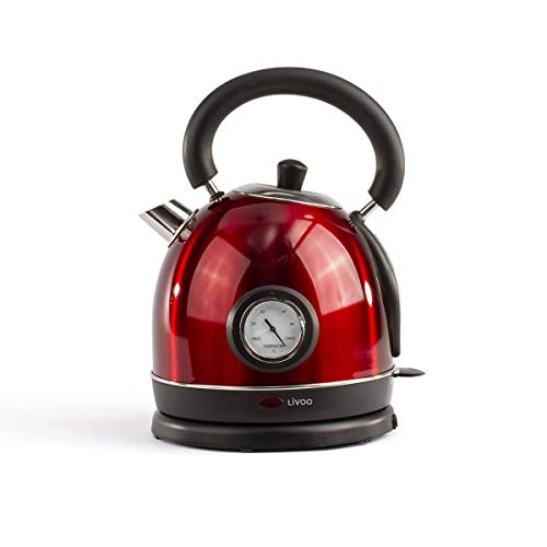 Livoo DOD157 Wasserkocher Retro Vintage Rot mit integriertem Themometer   Kapazität 1,8 l, automatische Abschaltung, Kalkfilter   1800 W