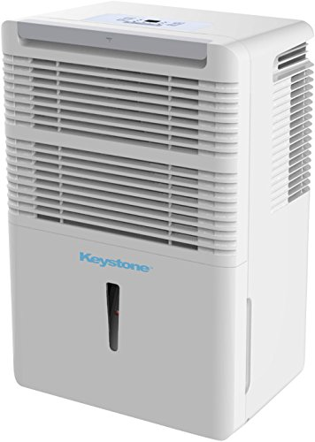 Keystone Electronic Controls 50-Pint High Efficiency Dehumidifier for The Dampest Large Rooms/Basements with Continuous Drain and Turbo Boost – Quiet Moisture Removal to Prevent Allergens, White
