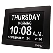 ✔ BEST CLOCK FOR SENIORS: The high resolution 8 inch display clearly spells out the full DAY of the WEEK, MONTH and DATE in large, bold letters with no confusing abbreviations, also shows MORNING, AFTERNOON, EVENING, NIGHT,PREDAWN during the time: 5:...