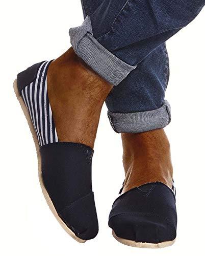 Leif Nelson Hombres Zapatos Alpargatas LN-101 Azul Oscuro A Rayas 40 EU