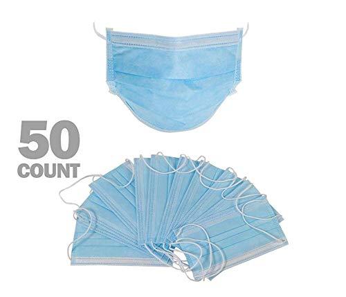 50PCS Maschere monouso con occhielli bianchi/blu, mascherine protettiveMas-che-rine 3 strati di maschera antipolvere, abbastanza scorte