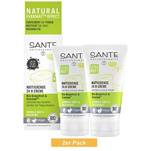 SANTE Naturkosmetik Mattierende 24H Creme, Gesichtscreme für Mischhaut, Verfeinert die Poren, Mattiert die Haut, Bio-Extrakte, Vegan, 2x50ml Doppelpack