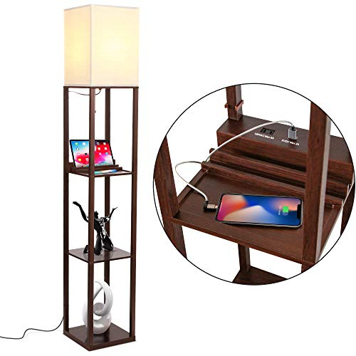 Brightech Maxwell Charger - Shelf Floor Lamp with USB Charging Ports & Electric Outlet - Tall & Narrow Tower...