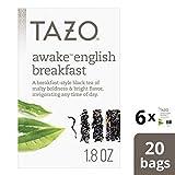 Tazo Awake English Breakfast Tea Bags For a Bold Traditional Breakfast-Style Tea Black Tea Highly Caffeinated Tea 20 Tea Bags 6 ct