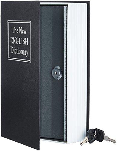 AmazonBasics - Buch-Safe, Schloss mit Schlüssel - Schwarz