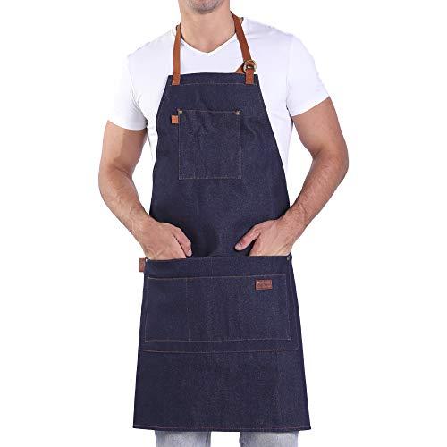 Denim Apron with Pockets Blue Bib Apron with Long Ties