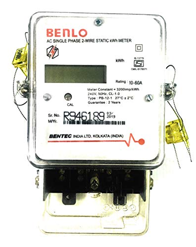 BENTEC Benlo Electronic Energy Sub Meter AC Single Phase 2-Wire Static kWh LCD Type Display Class-1 (10-60 A)