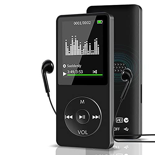 Aigital Lecteur MP3, 16Go Lecteur Musique en Métal pour Le Sport, 1.8 TFT Écran HiFi Portable sans Perte, avec Radio FM Enregistreur E-Book,Port Carte SD Jusqu'à 128Go(Non Incluse)-SO5 Noir