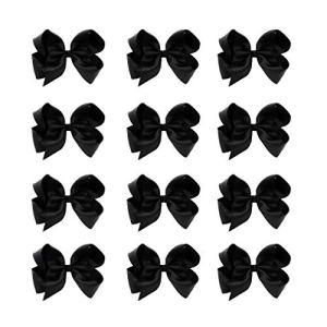 DEEKA 12 PCS 6″ Big Hand-made Grosgrain Ribbon Hair Bow Alligator Clips Hair Accessories for Little Teen Toddler Girls