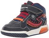 Geox J INEK Boy E, Baskets Hautes Fille, Bleu Marine Rouge C0735, 28 EU