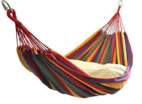tocotabi ハンモック2人用 ベッド部:長さ 約200×160cm / 全長:約320cm レッド系マルチカラーストライプ