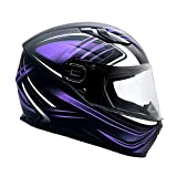 Typhoon Adult Full Face Motorcycle Helmet w/Drop Down Sun Shield DOT Certified - Same Day Shipping (Matte Purple, X Small)