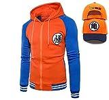 Dragon Ball Z Unisex Men's Goku Zip Up Hoodie Sweatshirt Costume, Free Baseball Cap (01, US Large/Tag X-Large)
