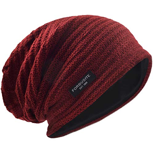 Hombres Slouch Gorrita Tejida Tejer Casquete Largo Holgado Forrado Invierno Verano Sombreros (Sólido Burdeos)