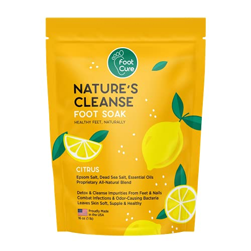 NATURE'S CLEANSE Foot Soak with Epsom Salt - Remove Toxins and Boost Immune, Made in USA, Relieve Inflammation, Aching Feet - Helps Toenail and Fingernail, Made in USA, 1 lb / 16 oz