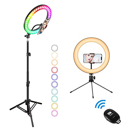 10' Ring Light with Stand, Fauna 14 Colors RGB LED Ring Light with Two Tripod Stand and Phone Holder & 10 Brightness Level & Camera Remote Shutter for Makeup,YouTube,Video,Photography