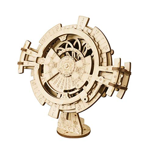 ROBOTIME 3D Puzzle - Perpetual Calendar - Brain Teasers Wooden Model Building Kits Laser Cut Jigsaw - Mechanical Construction Crafts to Build for Kids, Adults