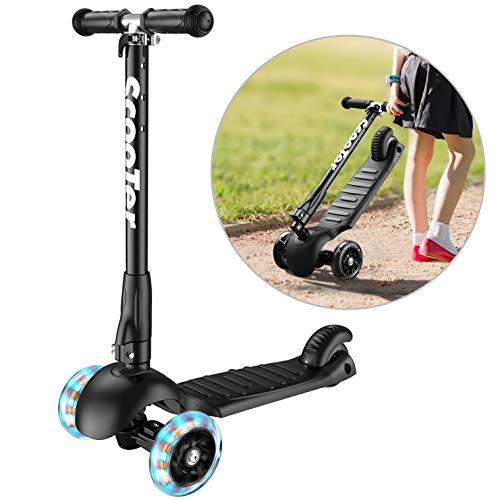 Banne Scooter, Altezza Regolabile Pieghevole Lean a Guidare Lampeggiante Ruote in PU 3 Wheel Kick...