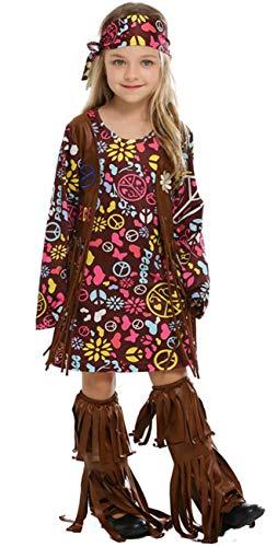 MOMBEBE COSLAND Disfraz Hippie Niña (Flor, S)
