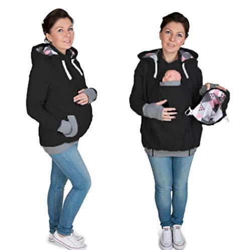 SuNxx Tragejacke für Mama und Baby, 3 in 1 Winter Umstandsjacke Mama Kängurujacke aus Fleece Tragepullove für Babytrage (Color : Black, Size : M)