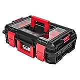 Robusto maletín de herramientas de plástico, negro, vacío, para taller móvil, 55 x 38 x 18 cm